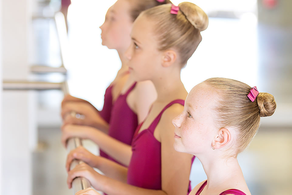 Ballet students at the barre